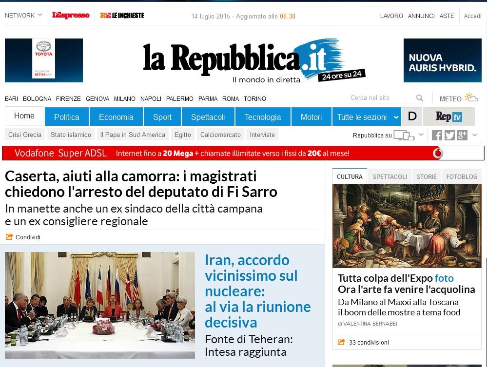 L'homepage di Repubblica.it di martedì 14 luglio 2015
