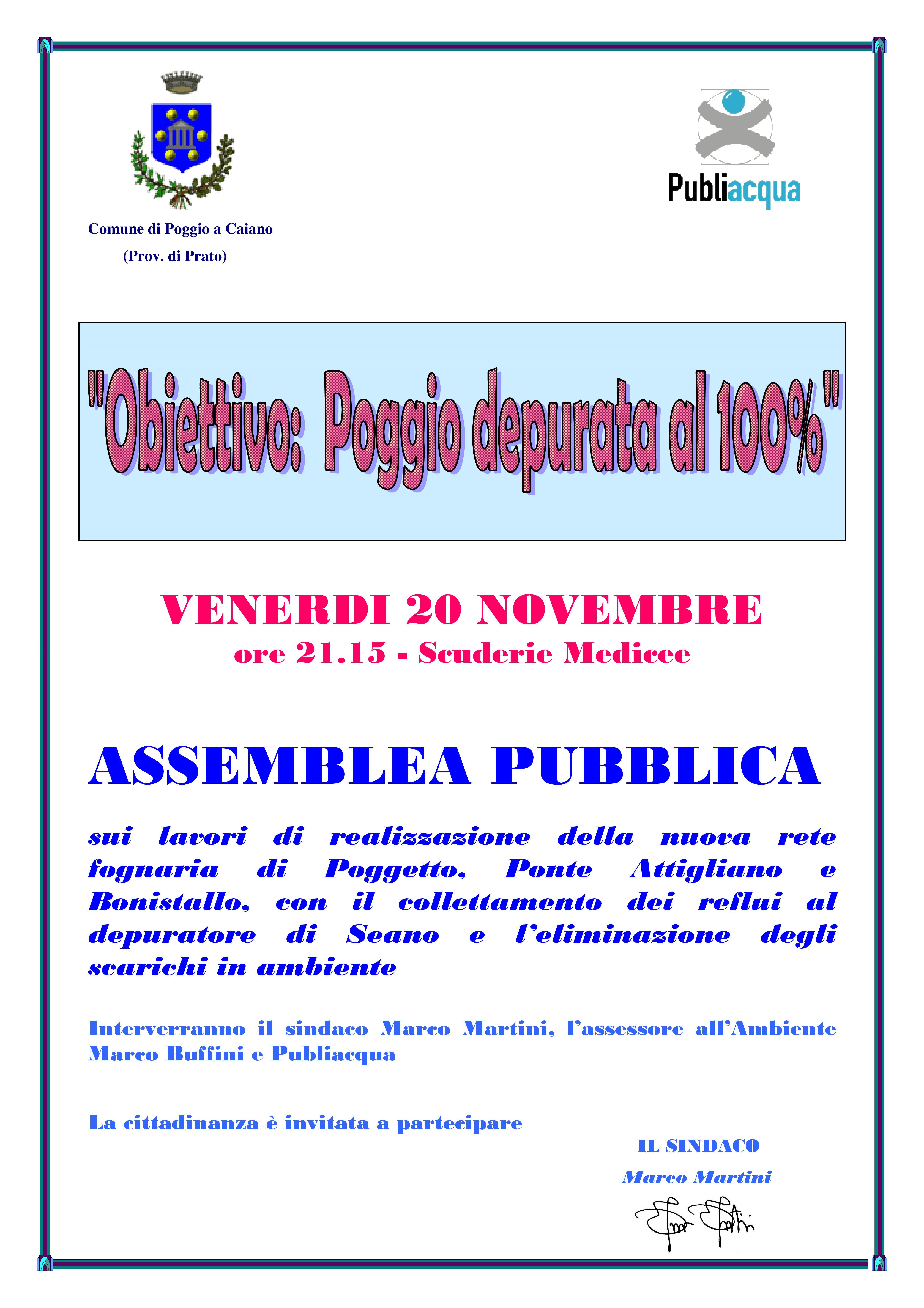 Locandina dell'assemblea pubblica Obiettivo: Poggio depurata al 100 percento