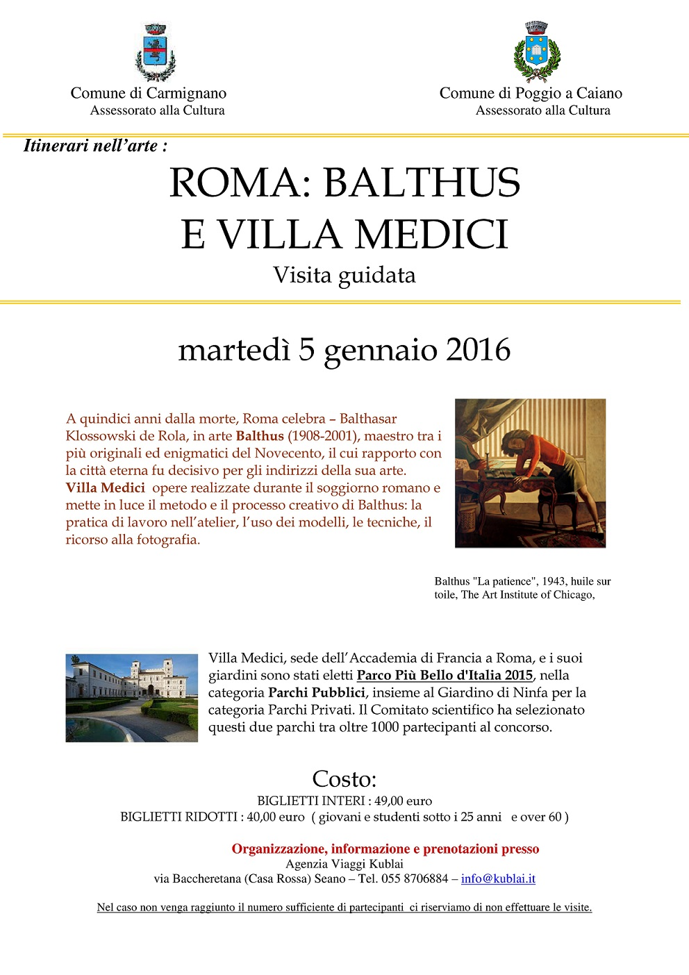 Locandina gita mostra Balthus a Villa Medici