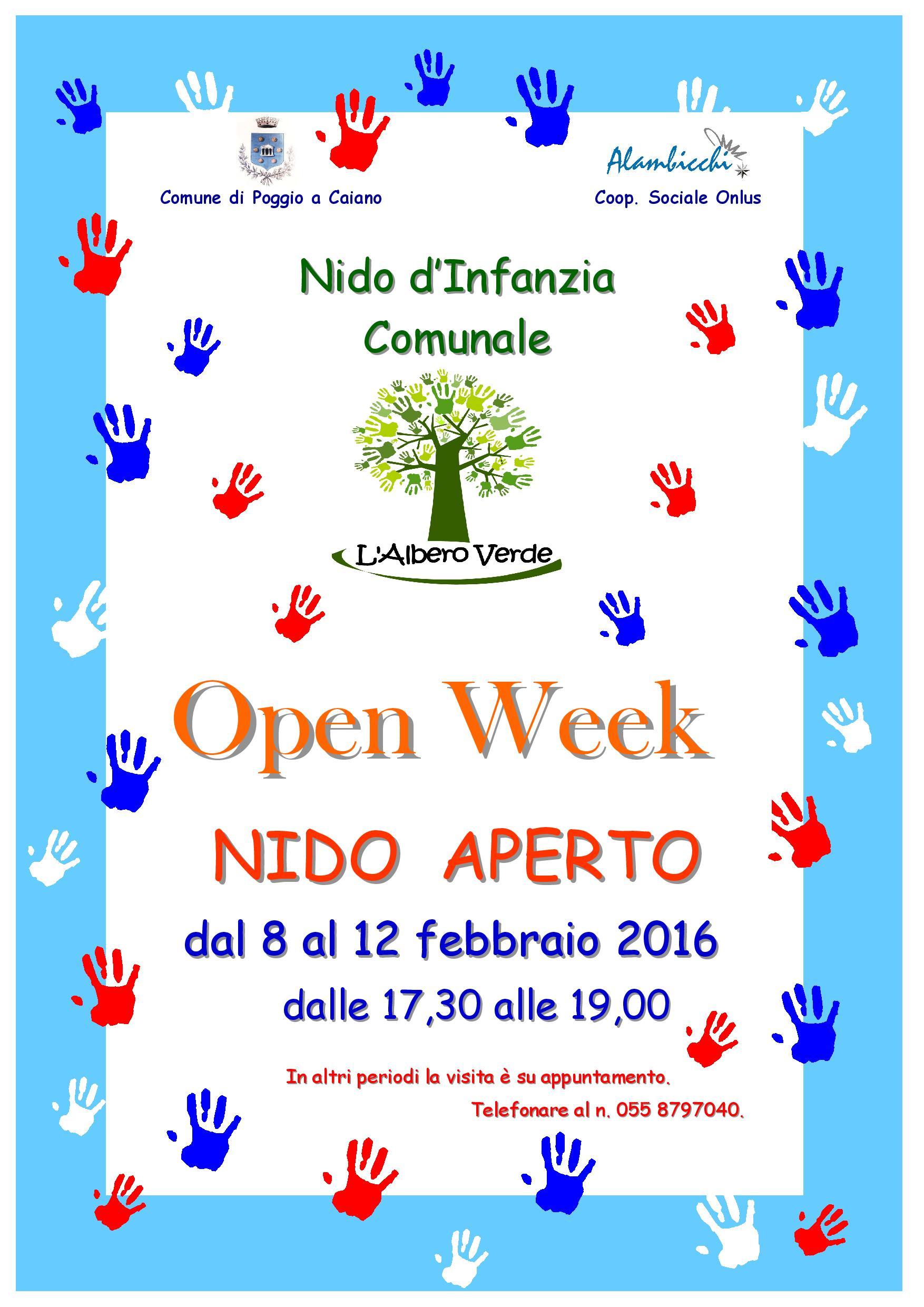 La locandina dell'open week del nido d'infanzia comunale