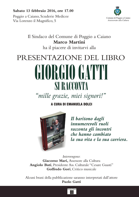 """La locandina della presentazione del libro """"Giorgio Gatti si racconta"""", sabato 13 febbraio, alle 17, alle Scuderie medicee"""