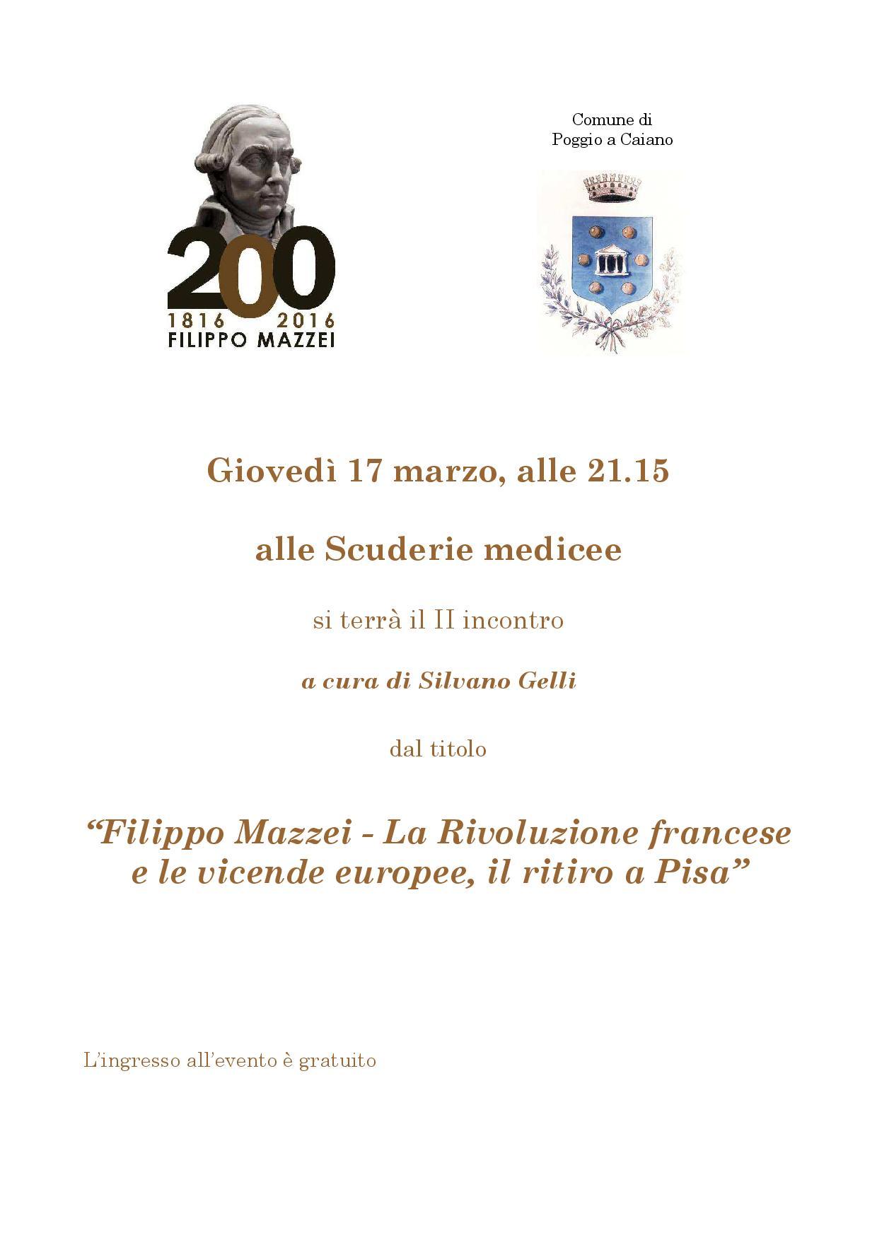 La locandina dell'incontro su Filippo Mazzei alle Scuderie medicee, a cura di Silvano Gelli