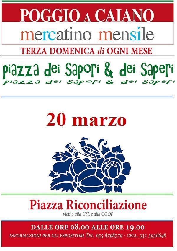 """La locandina di """"Piazza dei Sapori e dei Saperi"""" del 20 marzo"""