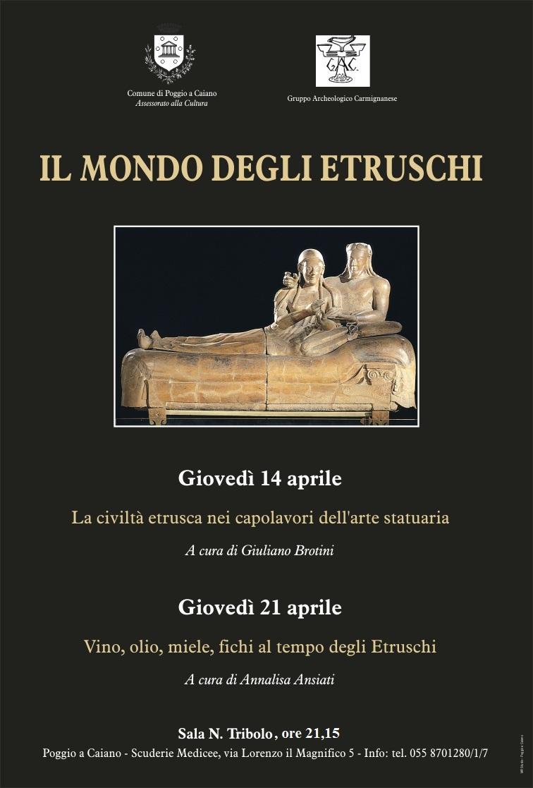 """La locandina degli incontri """"Il Mondo degli Etruschi"""" alle Scuderie medicee"""